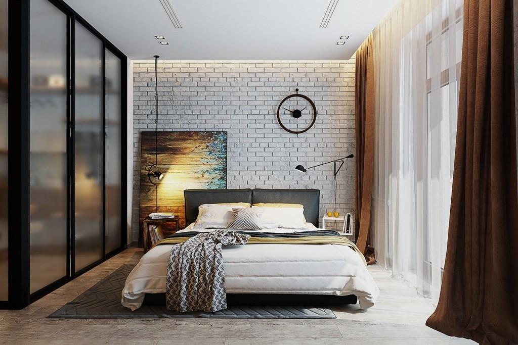 Коричневые шторы в спальне юноши