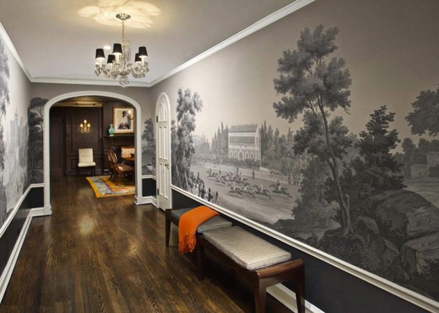 Декор фотообоями стен в большой прихожей