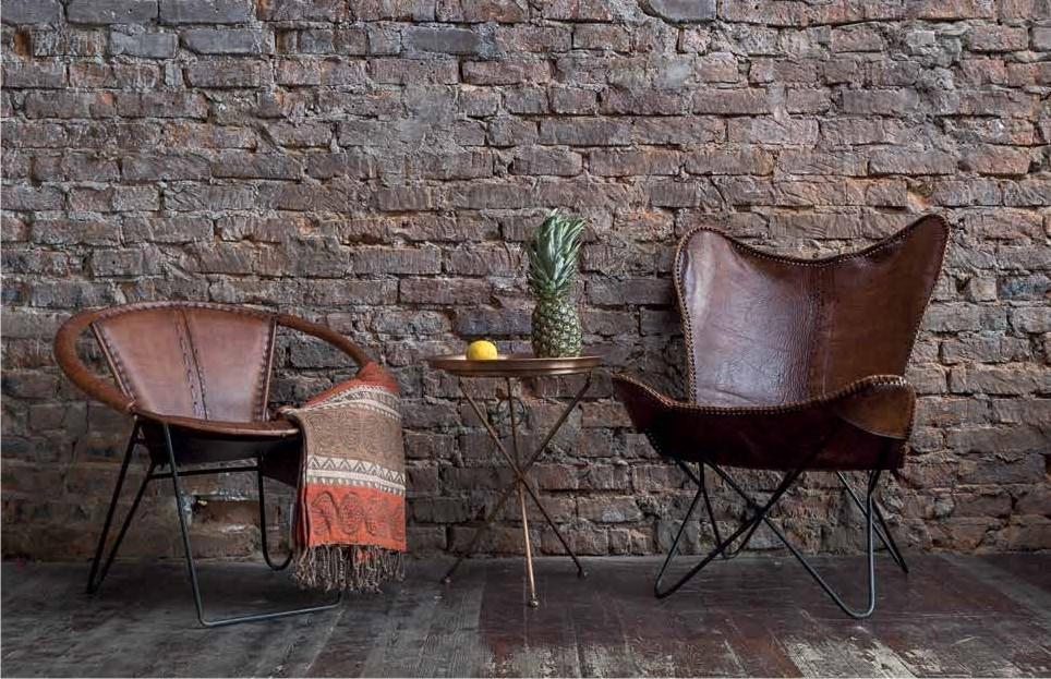 Кожаные кресло в индустриальном стиле