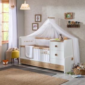 кроватка с пеленальным столиком идеи дизайна