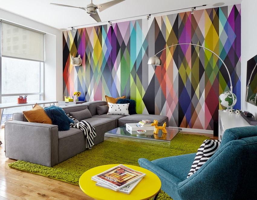 Использование ламината в интерьере гостиной стиля поп арт
