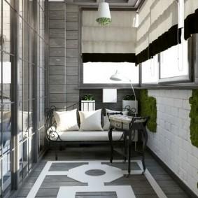 ламинат на балконе в эко стиле