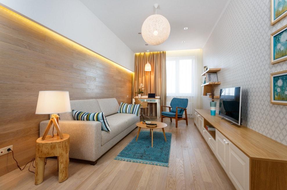 Декоративная подсветка стены с ламинатом в гостиной