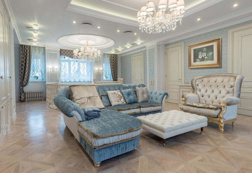 Меблировка гостиной комнаты в стиле классика