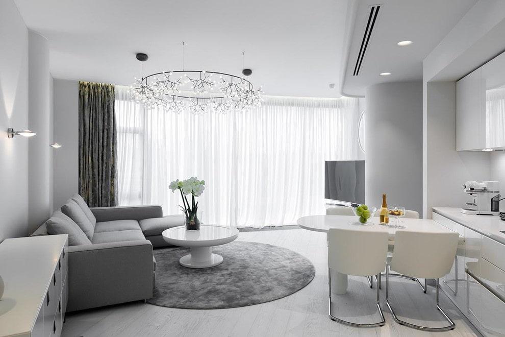 Угловой диван в гостиной стиля модерн