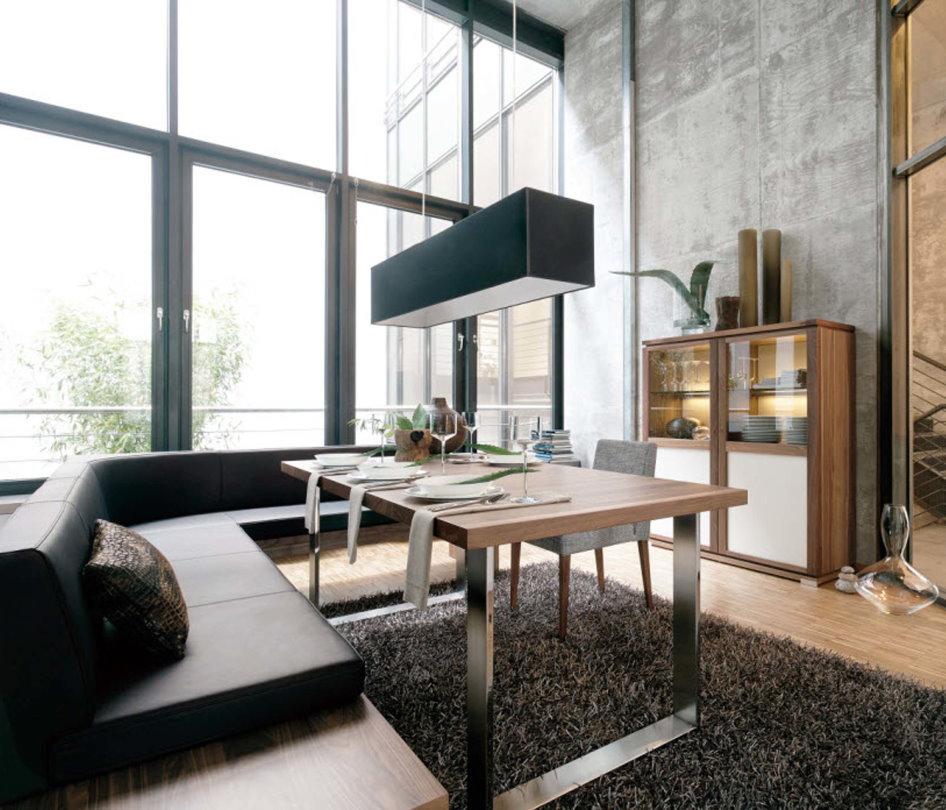 Гостиная комната с обеденной зоной в стиле лофта