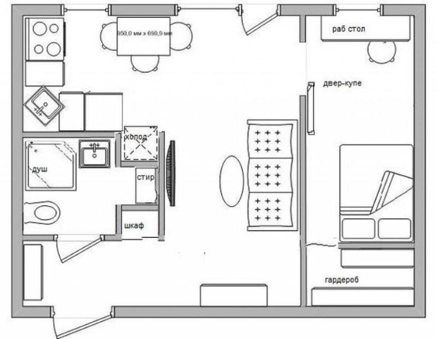 План 2-х комнатной хрущевки после объединения кухни с гостиной