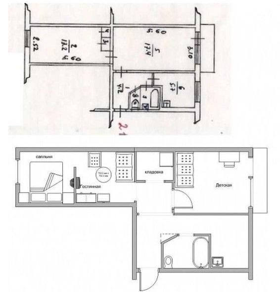 Схема перепланировки 2 комнатной хрущевки в трехкомнатную квартиру