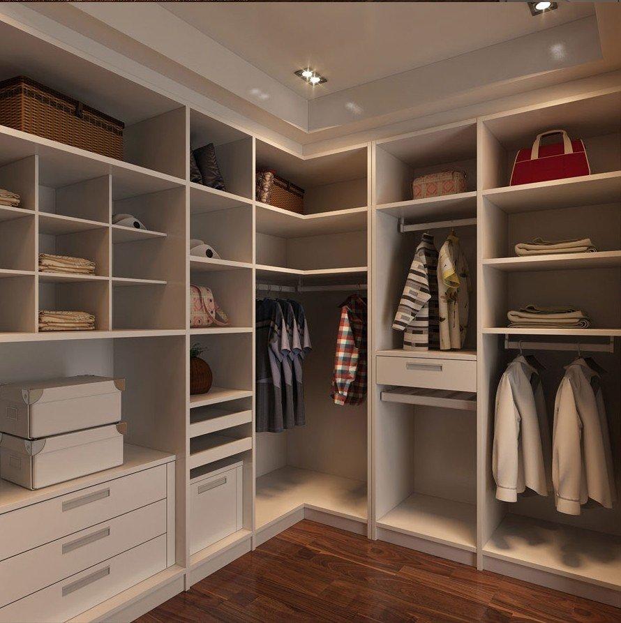 Угловой гардероб с полками и вешалками