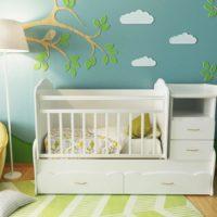 37789 Примеры дизайна детских кроваток с пеленальным столом