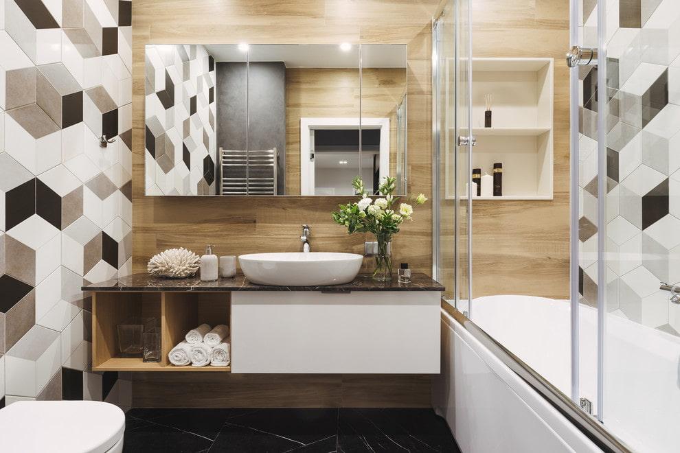 Пример отделки ванной комнаты в двухкомнатной хрущевке