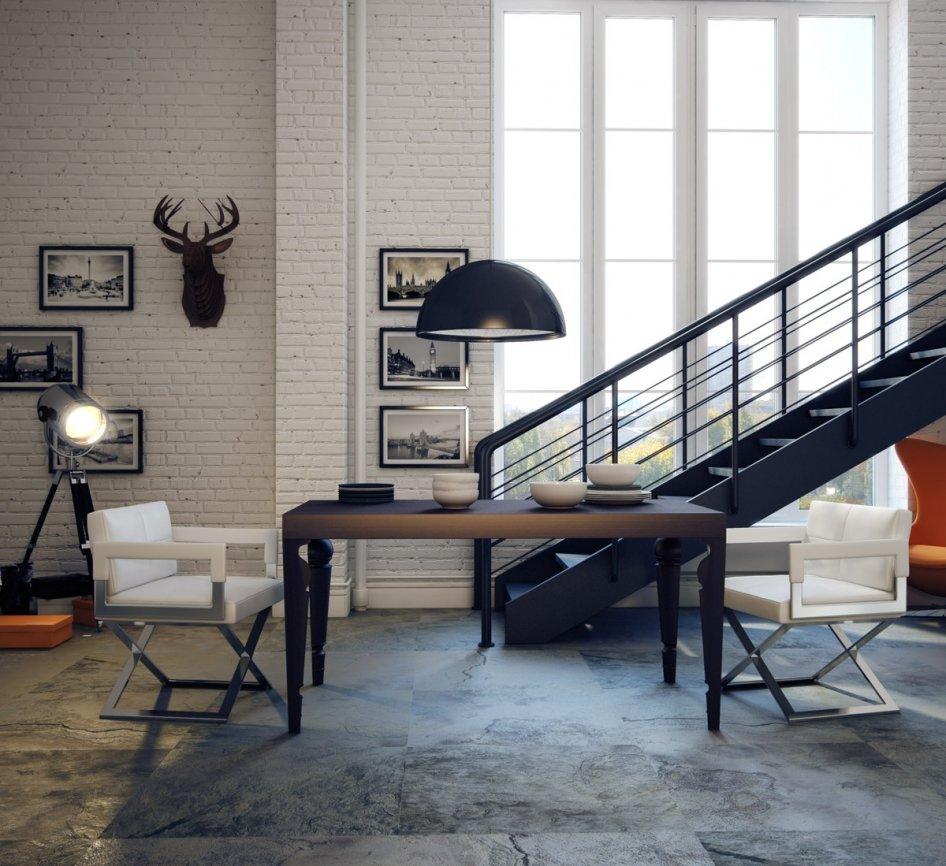 Гостиная комната в стиле лофт с лестницей
