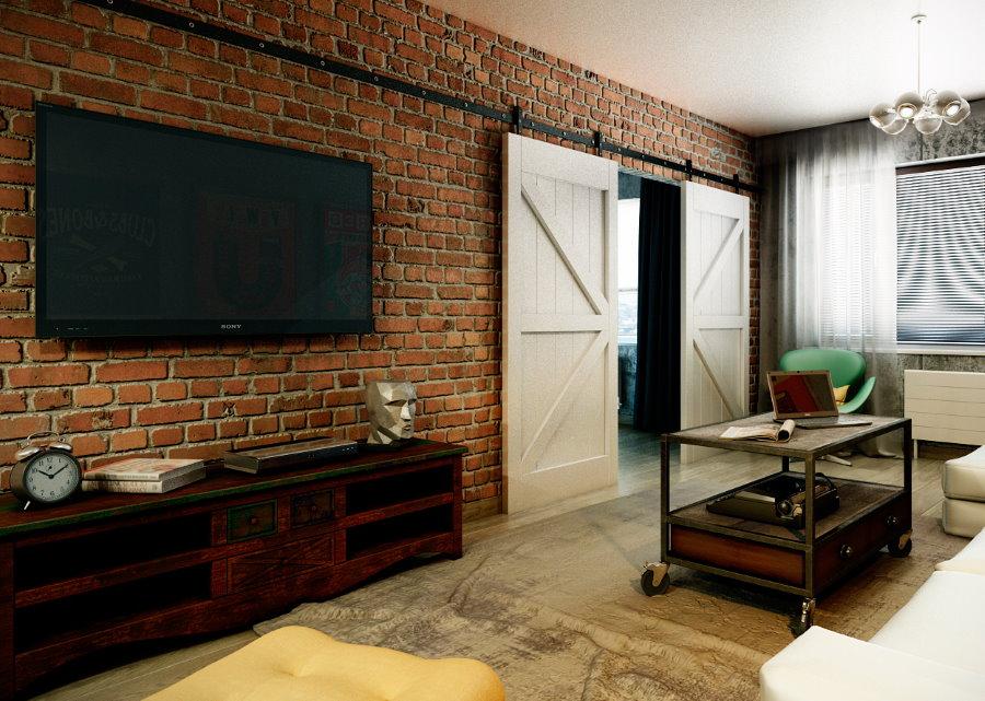 Плазменная панель на кирпичной стене гостиной