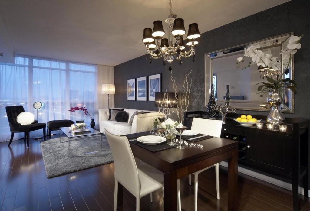 Дизайн гостиной комнаты с обеденным столом