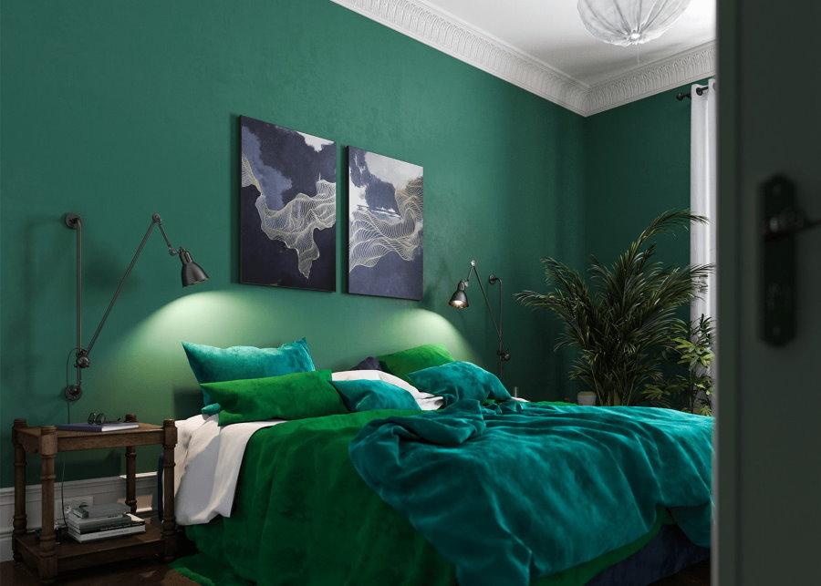 Темно-зеленая отделка стен в мужской спальне