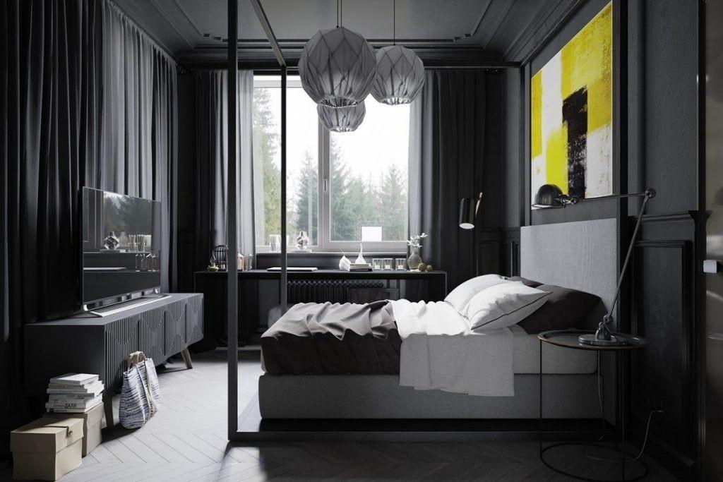 Желтое панно над кроватью в серой спальне
