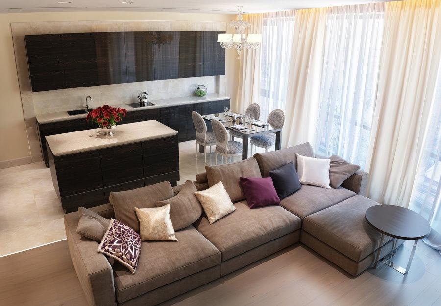 Зонирование угловым диваном кухни-гостиной