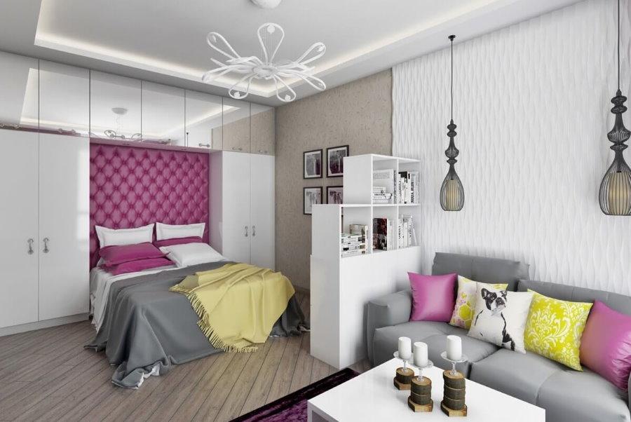 Зонирование отделочными материалами однокомнатной квартиры