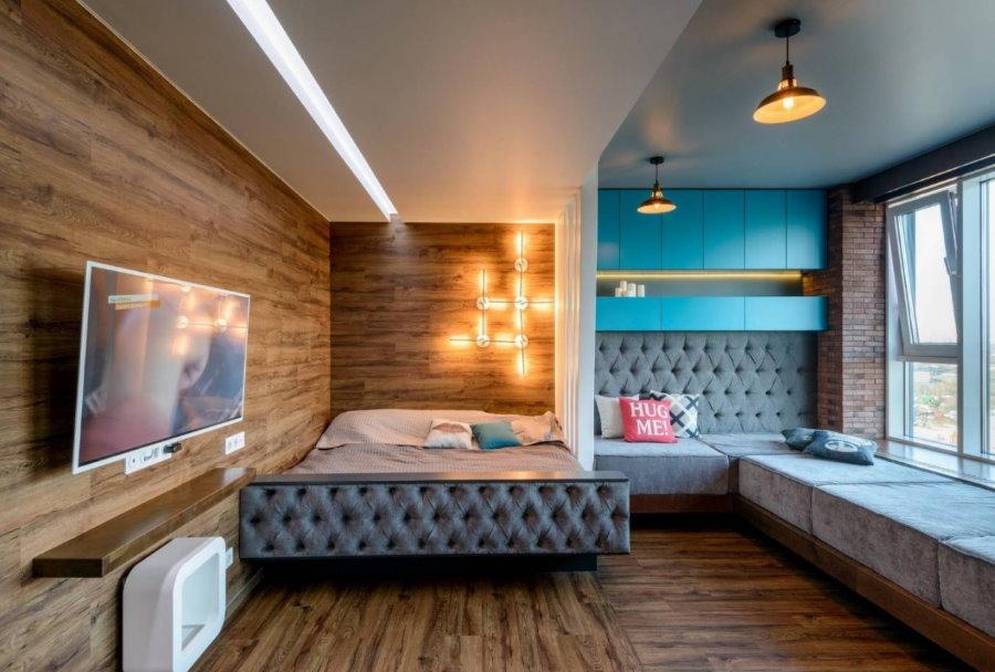 Зонирование прямоугольной комнаты с помощью освещения