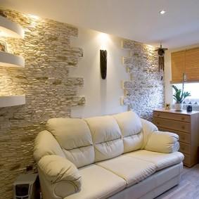 декоративный камень в гостиной интерьер