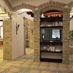 декоративный камень в гостиной интерьер фото