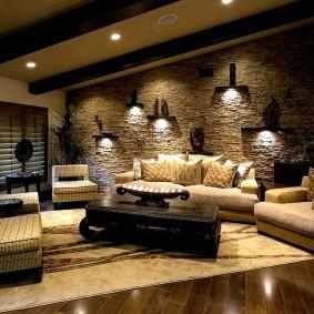 декоративный камень в гостиной фото интерьер