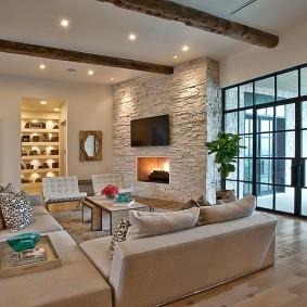декоративный камень в гостиной интерьер идеи