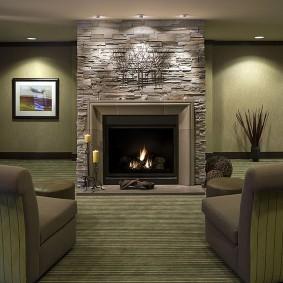 декоративный камень в гостиной идеи интерьер