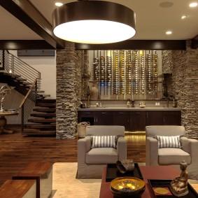 декоративный камень в гостиной идеи интерьера