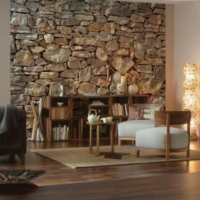 декоративный камень в гостиной идеи