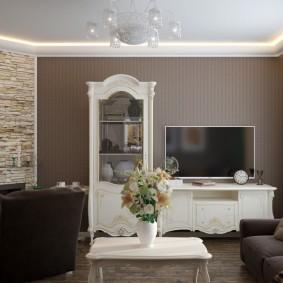 декоративный камень в гостиной оформление идеи