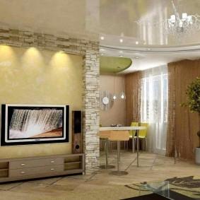 декоративный камень в гостиной варианты фото