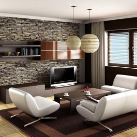 декоративный камень в гостиной фото видов