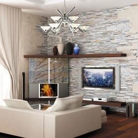 декоративный камень в гостиной идеи виды