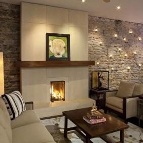 декоративный камень в гостиной виды дизайна