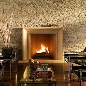 декоративный камень в гостиной фото идеи