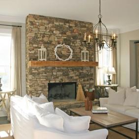 декоративный камень в гостиной дизайн