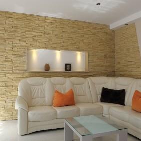 декоративный камень в гостиной дизайн фото