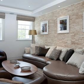 декоративный камень в гостиной фото дизайн