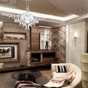 декоративный камень в гостиной фото дизайна