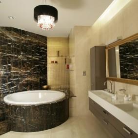 декоративный камень в ванной идеи