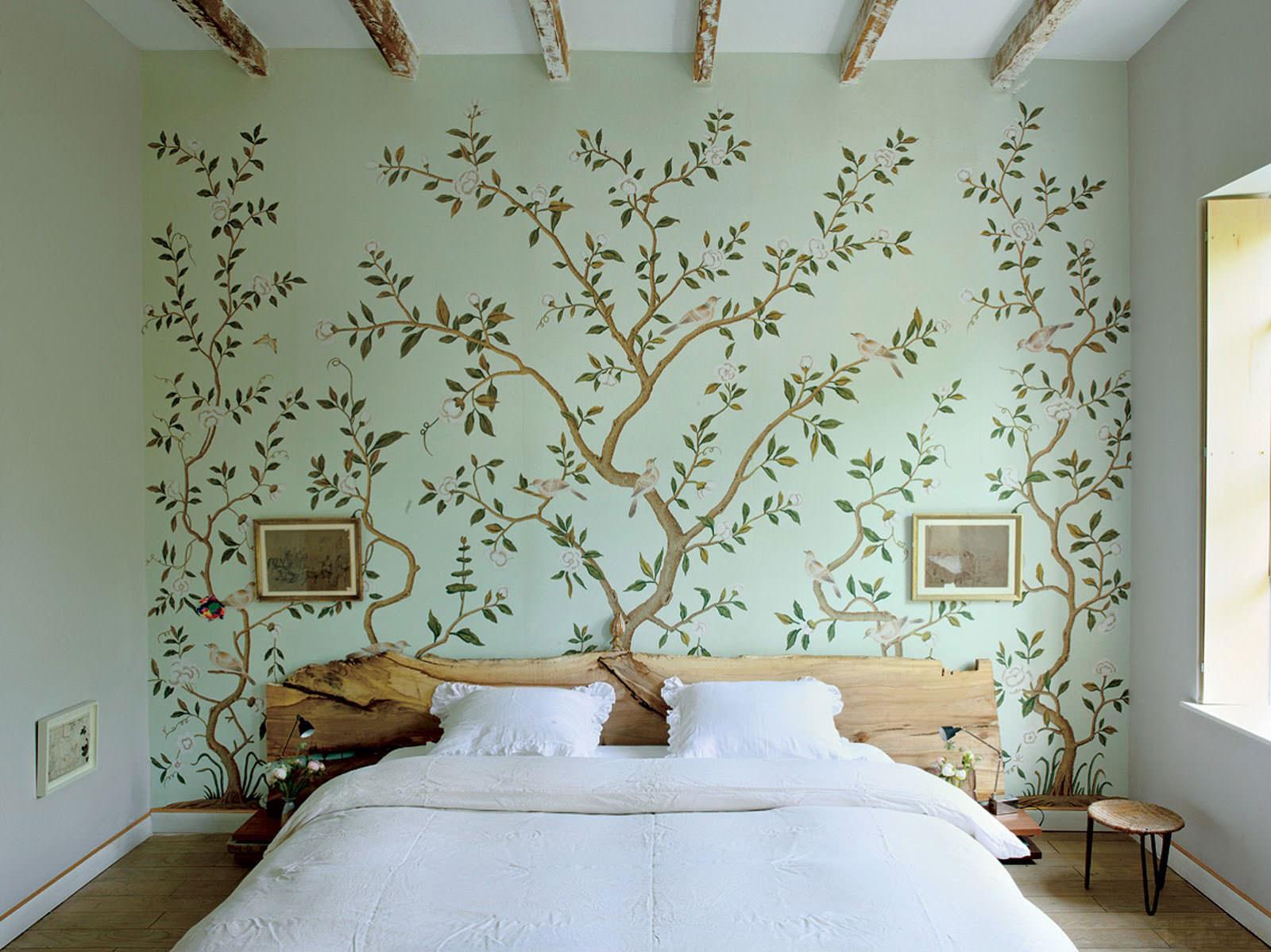 зелёные стены в спальне
