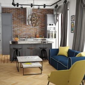 Кирпичная отделка кухонной зоны в квартире-студии
