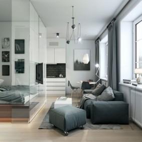 Серые шторы в спальне-гостиной