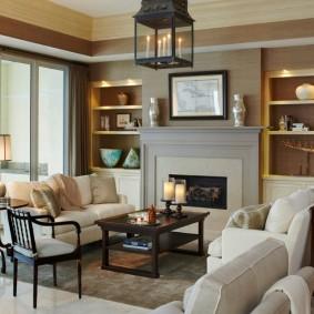 Зона отдыха гостиной с двумя диванчиками