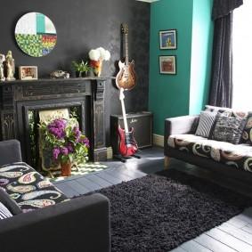 Серый цвет в интерьере гостиной комнаты