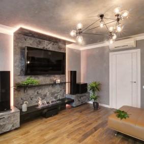 Декоративная подсветка в комнате с телевизором