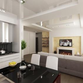 Двухуровневый потолок в просторной комнате