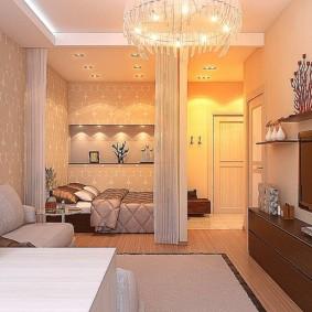 Освещение однокомнатной квартиры со светлыми стенами