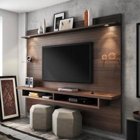 Панель из ДСП для размещения телевизора в зале